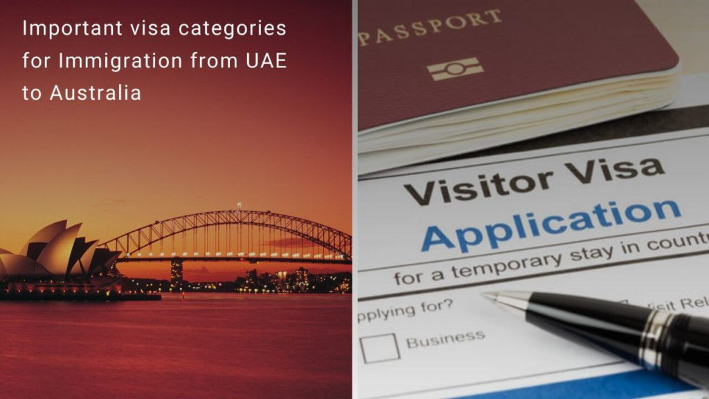 important visa categories for Immigration from UAE to Australia